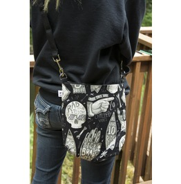 Black Alexander Henry Style Skull Mini Messenger Bag