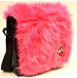 Pink Furry Cherry Messenger Bag Punk Gothic Rockabilly Teen