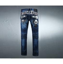 Men's Snake Lettering Skull Emblem Straight Jeans