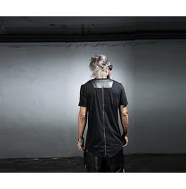 Men's Leather Patch Back Zipper Shirts