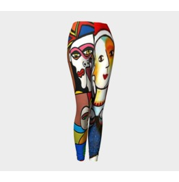 Funky Picasso Style Arty Colourful 3 Collage Leggings