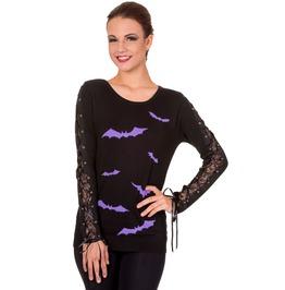 Brand New Purple Bat Print Knitted Lace
