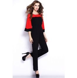 Patchwork Black And Red Three Quarter Sleeves Jumpsuit