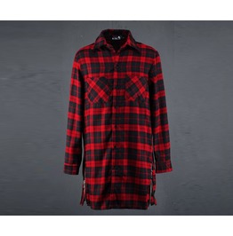 Mens Side Zipper Planel Check Long Shirts