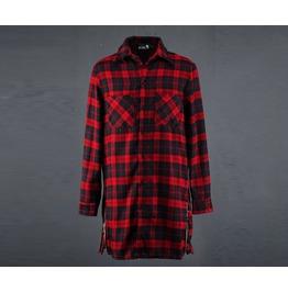 Mens Side Zipper Planel Check Long Shirts