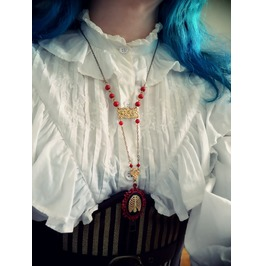 Long Necklace Ribs Cameo, Red Beads. Steampunk, Airship Pirate, Goth Chic