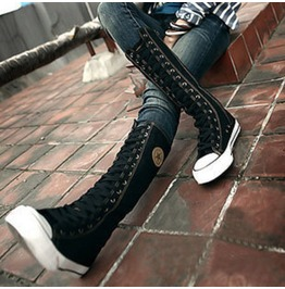 Gothic Punk Women Rock Boot Girls Shoes Sneaker Knee High Zip Laces