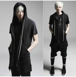 2016 New Arrival Black Style Men Hooded Vest