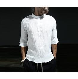 Men's Tape Henry Neck Linen Long Shirts