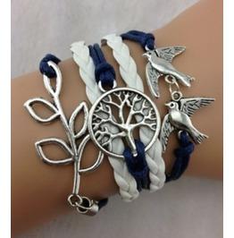 Handmade Leather Birds Charm Infinity Tree Bracelet