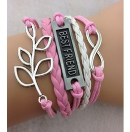 Handmade Leather Best Friend Charm Infinity Leaf Bracelet