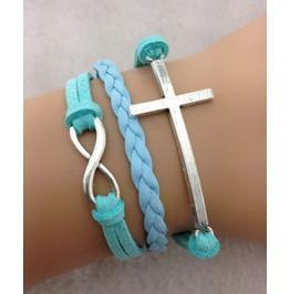 Handmade Leather Cross Charm Infinity Bracelet