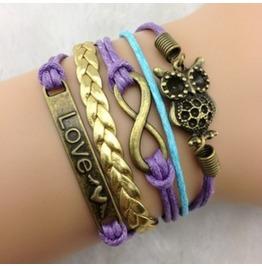 Handmade Leather Cross Owl Charm Infinity Love Bracelet