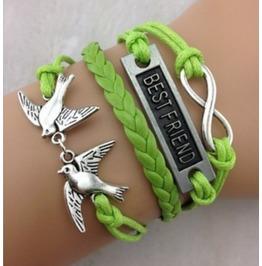 Handmade Leather Best Friend Charm Infinity Birds Bracelet