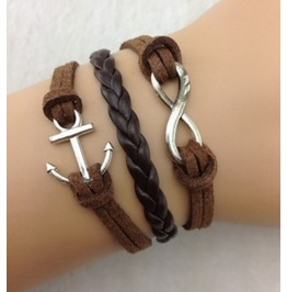 Handmade Leather Coffee Charm Infinity Anchor Bracelet