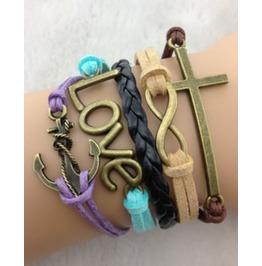 Handmade Leather Cross Anchor Love Charm Infinity Bracelet