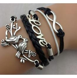 Handmade Leather Love Birds Charm Infinity Black Rope Bracelet