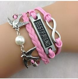 Handmade Pink Leather Birds Charm Infinity Best Friend Bracelet