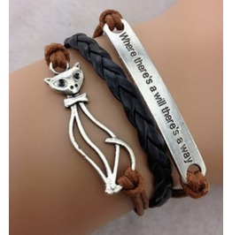 Handmade Leather Cat Charm Infinity Coffee Rope Bracelet