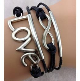 Handmade Leather Love Infinity Black Rope Bracelet