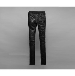 Men's Fashion Unique Black 8087 Slim Biker Skinny Jeans