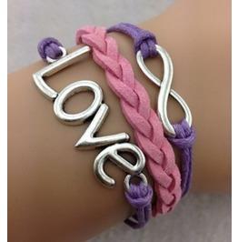 Handmade Leather Love Infinity Wax Cords Bracelet
