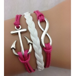 Handmade Leather Anchor Infinity Wax Cords Pink Bracelet For Girls