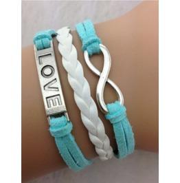 Handmade Leather Love Infinity Wax Cords Vintage Bracelet