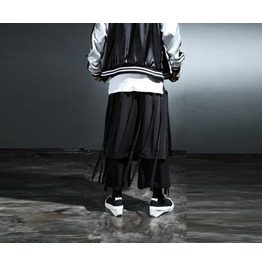 Men's Grunge String Detail Skirt Pants