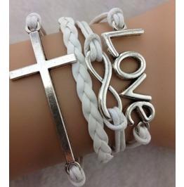 Handmade Leather Love Infinity Wax Cords Cross Bracelet