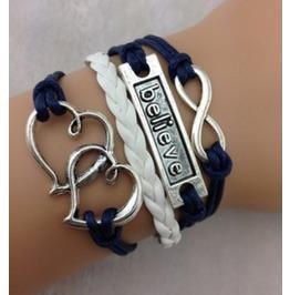 Infinity Believe & Heart To Heart Charm Bracelet Silver Wax Cords Bracelet