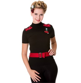 Banned Apparel Black Red Cherry Top