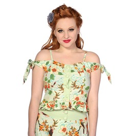 Banned Apparel Butterfly And Flowers Green Top