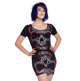 Banned Apparel Red Mirror Skull Top