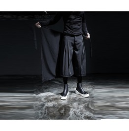 Men's Gothic Avant Garde Loose Fit Zipper Detail Wrap Skirt Pants