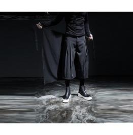 Men's Gothic Avant Garde Loose Fit Zipper Detail Wrap Skirt Pants