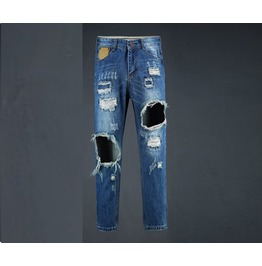 Men's Leather Patch Destroyed Jeans