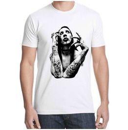 Marilyn Manson White Shirt T Tattoo Men T Metal Gothic Band Cotton