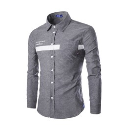 Men's Strap Button Down Slim Fit Denim Shirt