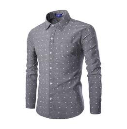 Men's Stars Printed Button Down Slim Fit Denim Shirt