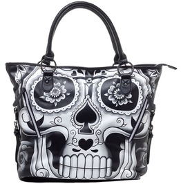 New Floral Flower Punk Rock Goth Handbag Purse Skull