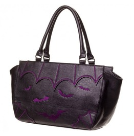 Gothic Hand Bag With Purple Bats Rock Alternative Punk Banned