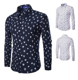 Men's Hot Air Balloon Printed Button Down Slim Fit Shirt