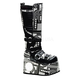 Demonia Techno 856 Gothic Uv Glow Cyber Rave Industrial Apocalyptic Boots 6