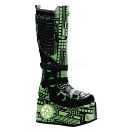 Demonia Techno 856 Gothic Uv Reactive Green Glow Cyber Rave Boots Mens 6
