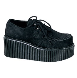 Demonia Creeper 202 Platform Black Fur Goth Cyber Creepers Shoes Womens 8