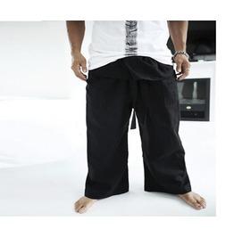 Men's Mid Waist Linen Baggy Pants