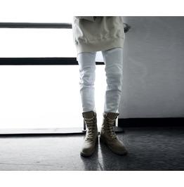 Men's White Cotton Biker Pants