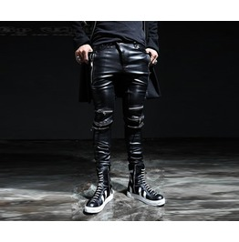 Men's Unique Chic Knee Zipper Integrity Dark Black Coating Biker Pants Ca