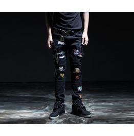 Men's Wappen Patch Grunge Skinny Jean